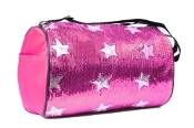 Fuchsia Sequined Stars Duffle Bag